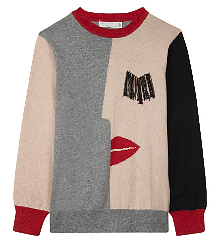 STELLA MCCARTNEY Lucky knitted cotton jumper 4-16 years (Pearl+pink