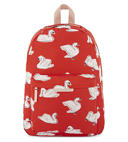 STELLA MCCARTNEY Bang swan print canvas backpack (Swans+aop+on+red