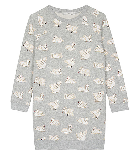 STELLA MCCARTNEY Leona organic cotton swan print dress 4-16 years (Swans+aop+on+grey
