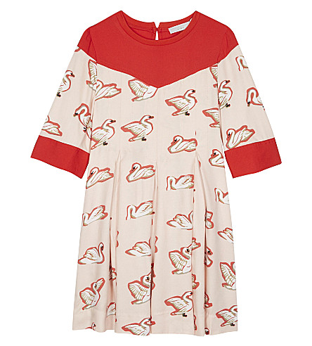 STELLA MCCARTNEY Bessie smock dress 4-16 years (Swans+aop+on+pink
