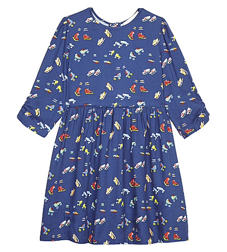 STELLA MCCARTNEY Meadow boot-print dress 4-16 years (Roller+skates+aop