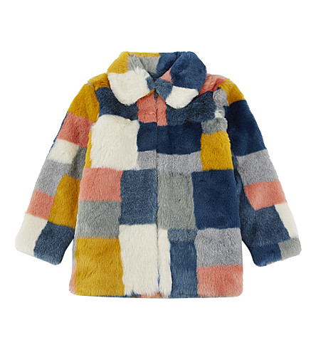 STELLA MCCARTNEY Faux-fur patchwork coat 4-16 years (Multicolor