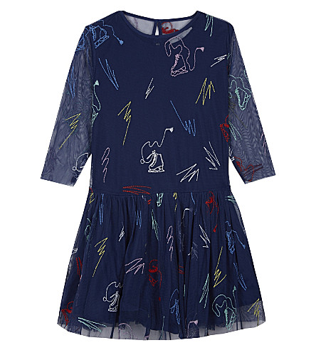 STELLA MCCARTNEY Luna embroidered dress 4-16 years (Bluette