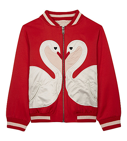 STELLA MCCARTNEY Willow swan cotton-blend bomber jacket 4-16 years (Parrot+red