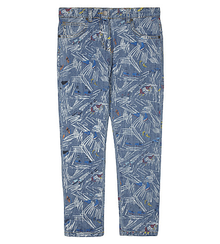 STELLA MCCARTNEY Lohan cotton trousers 4-16 years (White+scribble