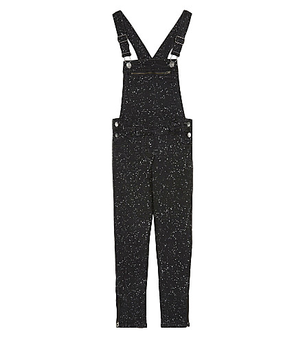 STELLA MCCARTNEY Lake splatter print dungarees 4-16 years (Splat+denim+pr+black