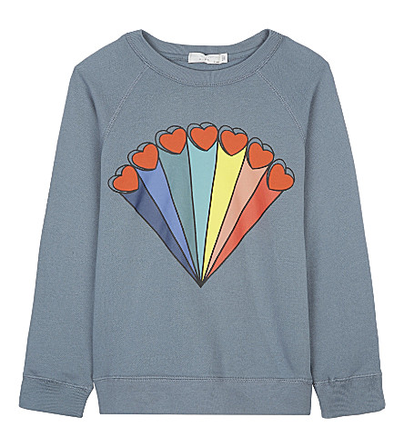 STELLA MCCARTNEY Betty rainbow heart print sweatshirt 4-16 years (Lagoon+blue
