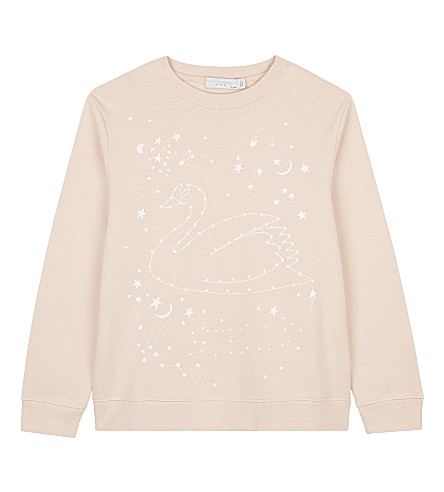 STELLA MCCARTNEY Betty swan cotton jumper 4-16 years (Pearl+pink