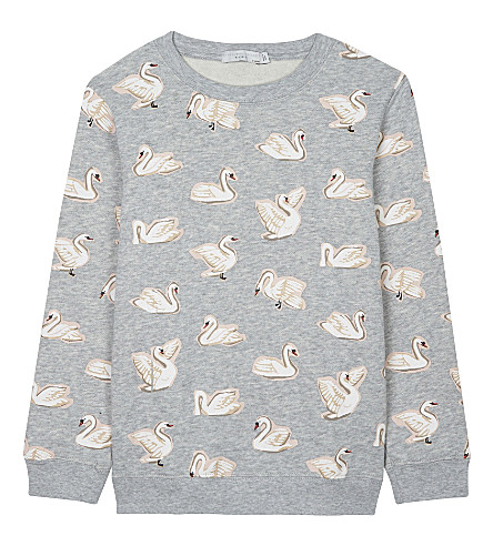 STELLA MCCARTNEY Betty cotton jumper 4-16 years (Swans+aop+on+grey