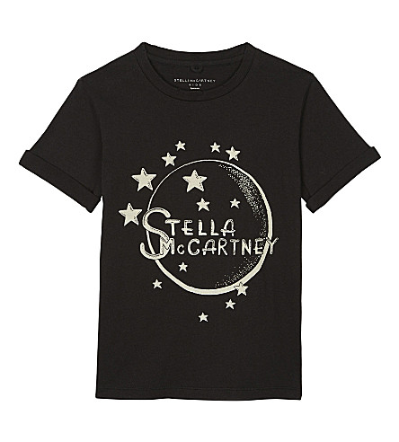 STELLA MCCARTNEY Lolly moon organic cotton T-shirt 4 -16 years (Washed+black