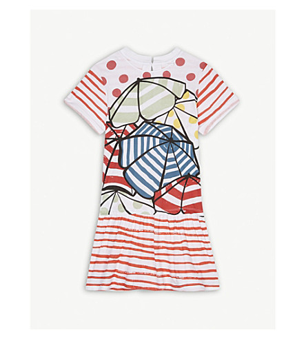 STELLA MCCARTNEY Jess printed striped cotton dress 4-14 years (White