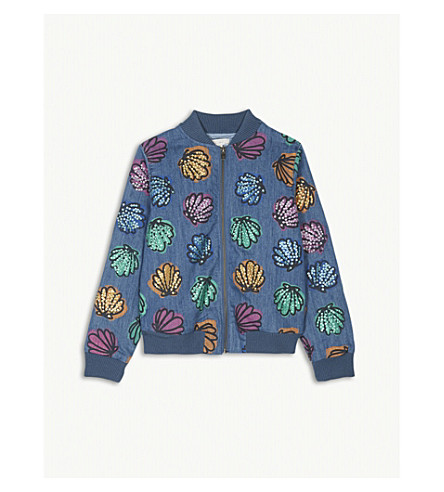 STELLA MCCARTNEY Abbot shells and sequins bomber jacket 4-16 years (Denim