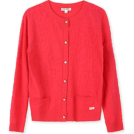 KENZO Tiger-button knitted cardigan 2-16 years (Coral