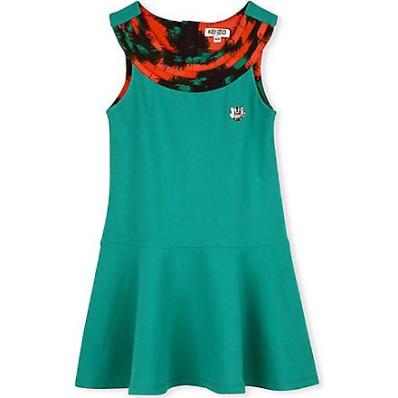 KENZO Print detail swing dress 6-16 years (Green