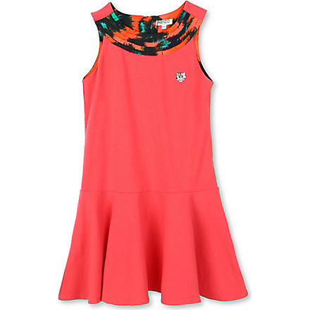 KENZO Printed-neckline swing dress 6-16 years (Coral