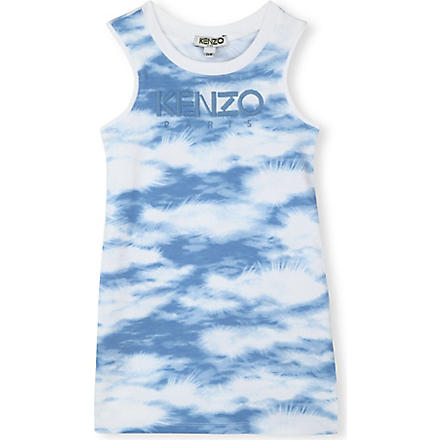 KENZO Cloud-print vest dress 2-16 years (Blue
