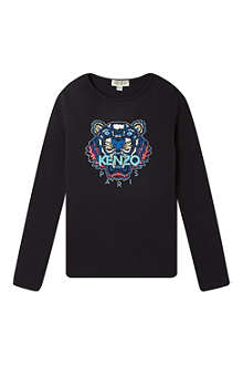 KENZO Tiger print long-sleeved top 4-16 years