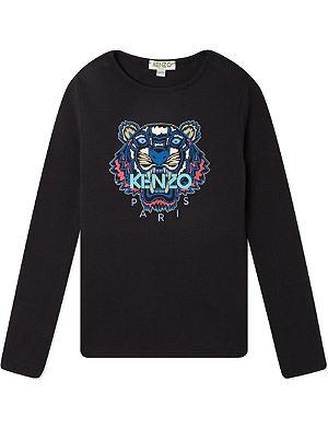KENZO Tiger print long-sleeved top 4-16 years