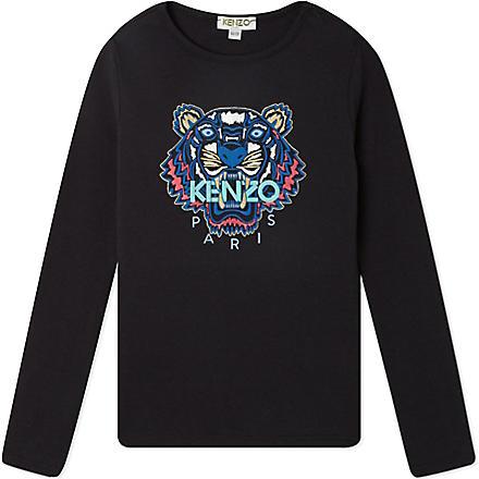 KENZO Tiger print long-sleeved top 4-16 years (Black