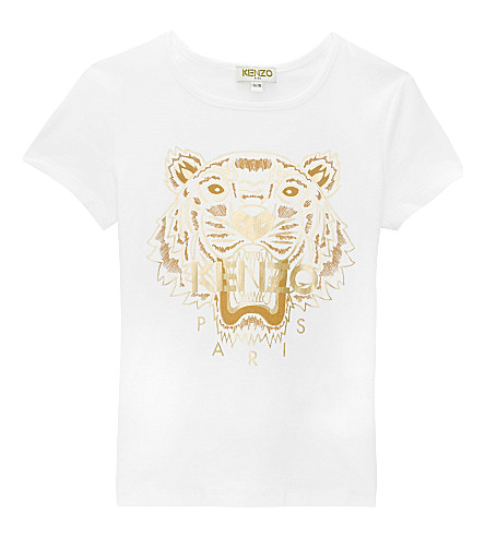 KENZO Tiger cotton T-shirt 4-16 years (White