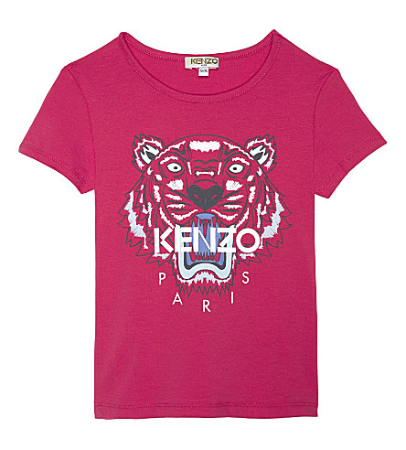 KENZO Tiger head cotton-blend T-shirt 4-16 years (Fuchsia