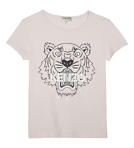 KENZO Tiger head cotton-blend T-shirt 4-16 years (Pink