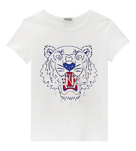 KENZO Tiger head cotton-blend T-shirt 4-16 years (White