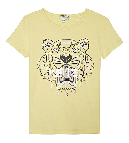 KENZO Tiger head cotton-blend T-shirt 4-16 years (Yellow