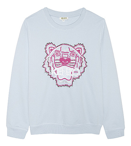 KENZO Kenzo girls tiger icon beaded sweater (Blue