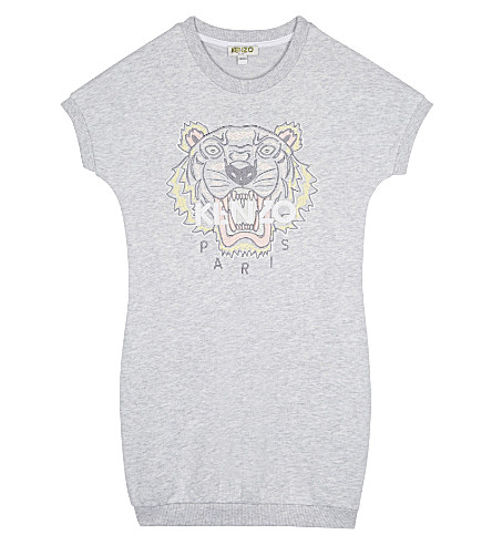 KENZO Tiger cotton-blend T-shirt 4-16 years (Light marl grey