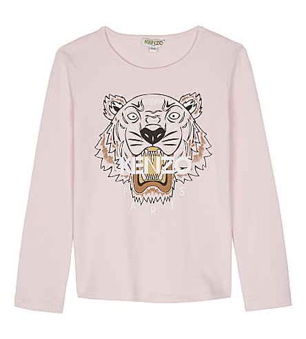 KENZO Tiger print cotton long-sleeved top 4-16 years (Pale+pink