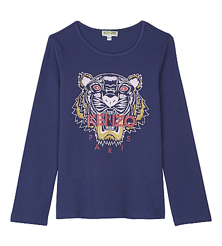 KENZO Tiger print cotton long-sleeved top 4-16 years (Purple