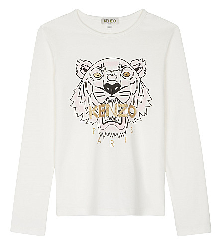 KENZO Tiger print cotton long-sleeved top 4-16 years (Cream