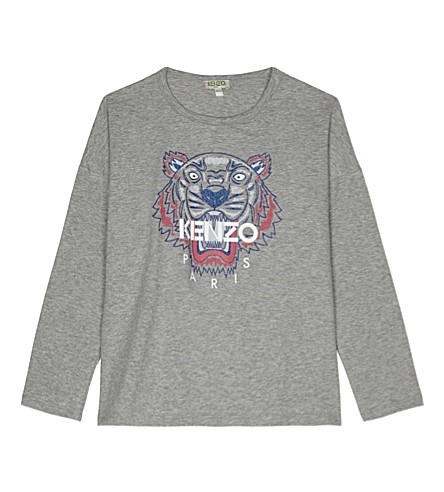 KENZO Tiger print long-sleeved cotton top 4-16 years (Grey
