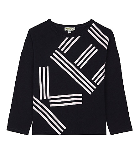 KENZO Logo print long-sleeve top 4-16 years (Navy