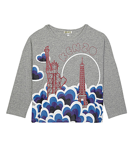 KENZO Glitter printed cotton long-sleeved top 4-16 years (Grey