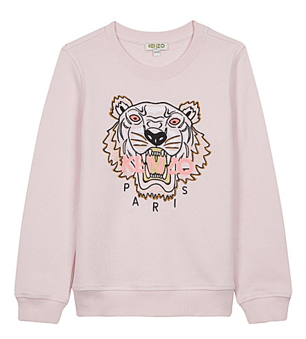 KENZO Tiger appliqué cotton jumper 4-16 years (Pale+pink
