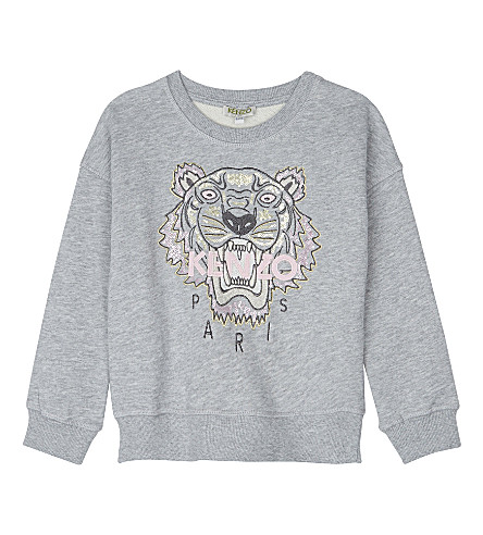 KENZO Sequin tiger cotton sweatshirt 4-16 years (Grey