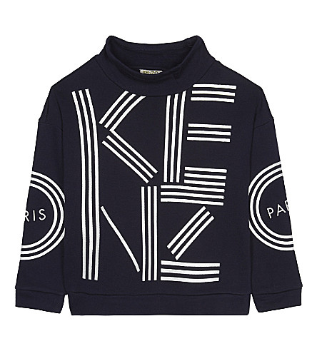 KENZO Glitter logo cotton sweatshirt 4-16 years (Navy