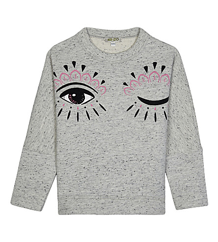 KENZO Cecile winking cotton sweater 4-16 years (Grey