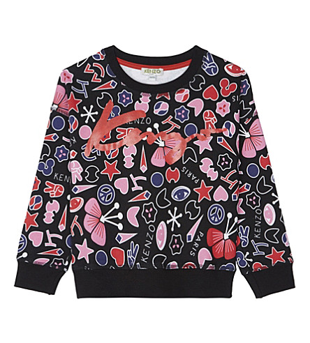 KENZO Peace cotton sweatshirt 4-16 years (Black