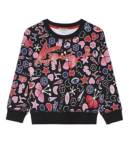 KENZO Peace cotton sweatshirt 4-16 years (Black