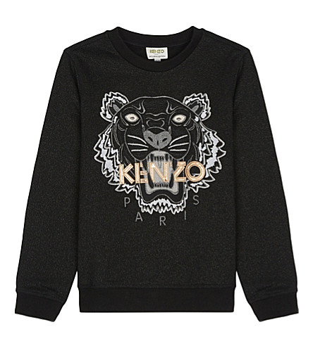 KENZO Embroidered tiger face sweatshirt 4-16 years (Black