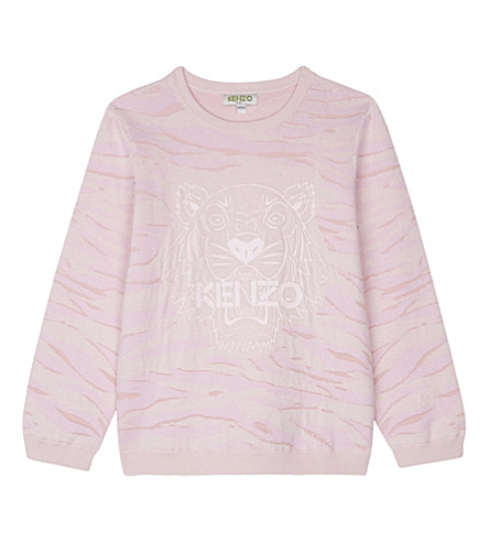 KENZO Metallic tiger stripe cotton jumper 4-16 years (Pale+pink