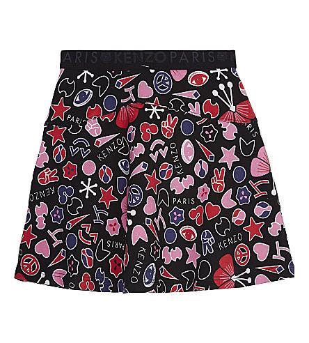KENZO Peace cotton jersey skirt 4-16 years (Black