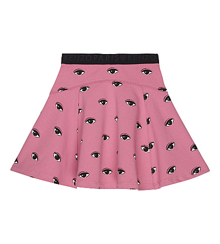 KENZO Eye print jersey skirt 4-16 years (Hot+pink
