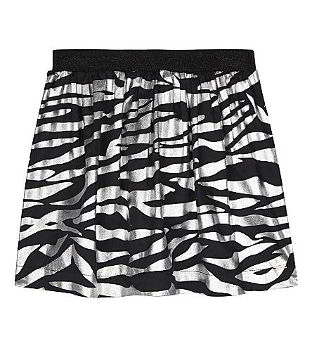 KENZO Tiger-striped metallic skirt 4-16 years (Black