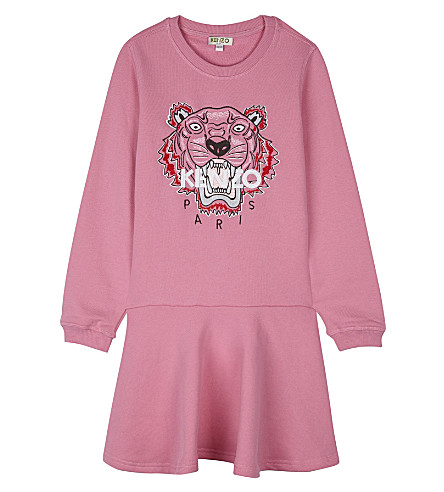 KENZO Tiger cotton sweatshirt dress 4-16 years (Hot+pink