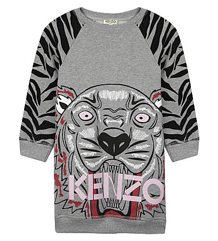 KENZO Tiger print cotton long-sleeved dress 4-16 years (Grey