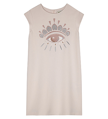 KENZO Sleeveless crepe eye dress 4-16 years (Pink